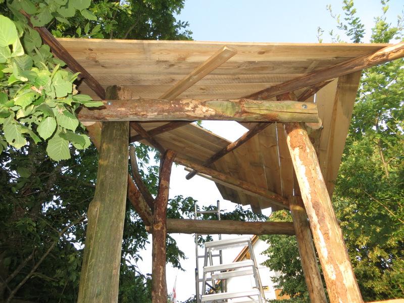 Dachkonstruktion von unten.